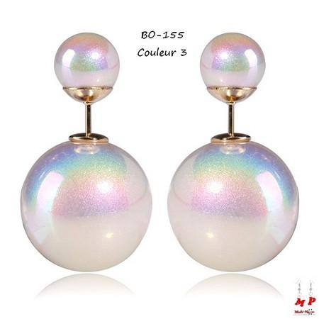Boucles d'oreilles double perles blanches nacrées