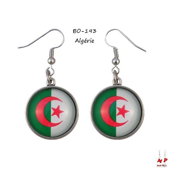 boucles d 39 oreilles pendantes drapeaux algerie modet plaisirs. Black Bedroom Furniture Sets. Home Design Ideas