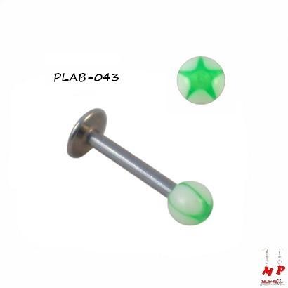 Piercing labret boule acrylique étoile verte et blanche