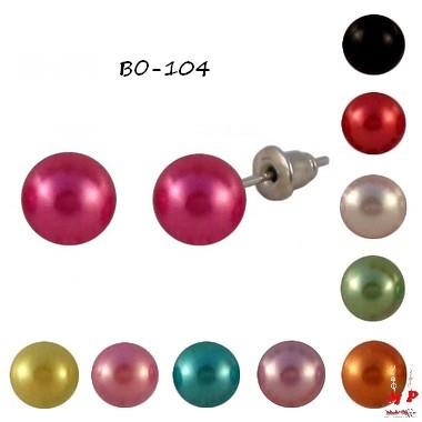 Boucles d'oreilles perles rondes 7mm 10 couleurs