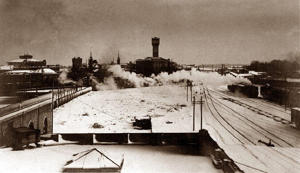 Il lato nord della stazione, verso le Acque della Salute, negli anni dieci del secolo scorso