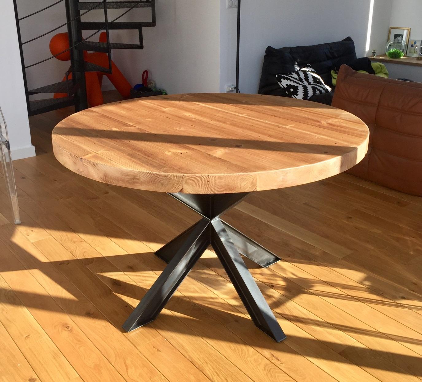 Tables hautes metalik bois meubles industriel dans la Table ronde 100 cm