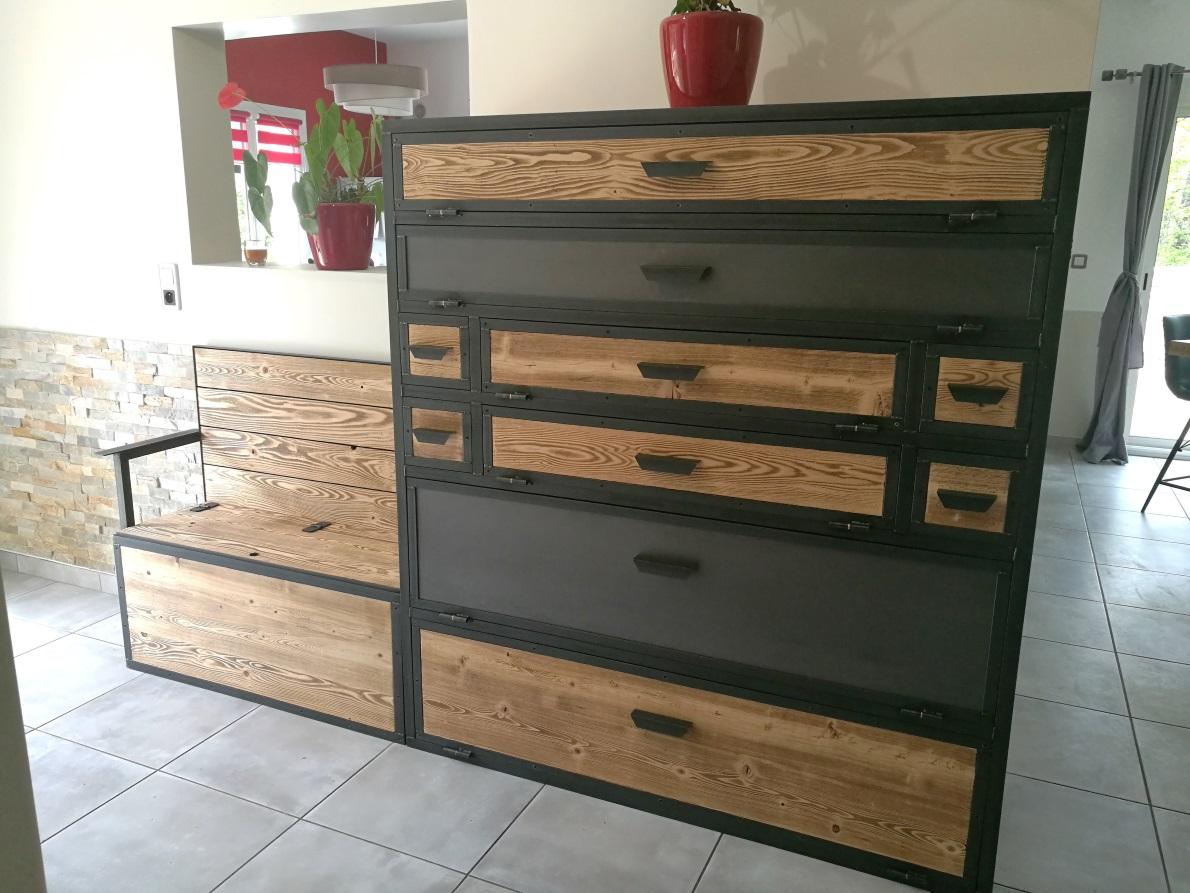 Meuble En Sapin Brut meubles industriels - metalik & bois meubles industriel dans