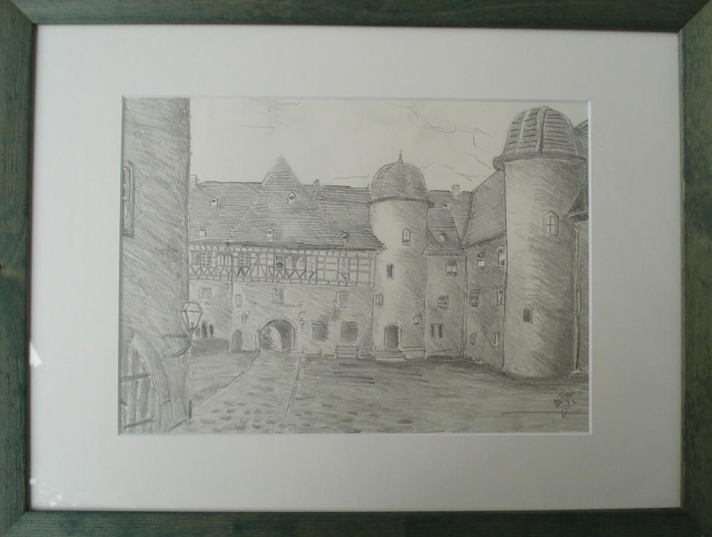 Schloss Steinau 21 x 29,7 Bleistift auf Papier