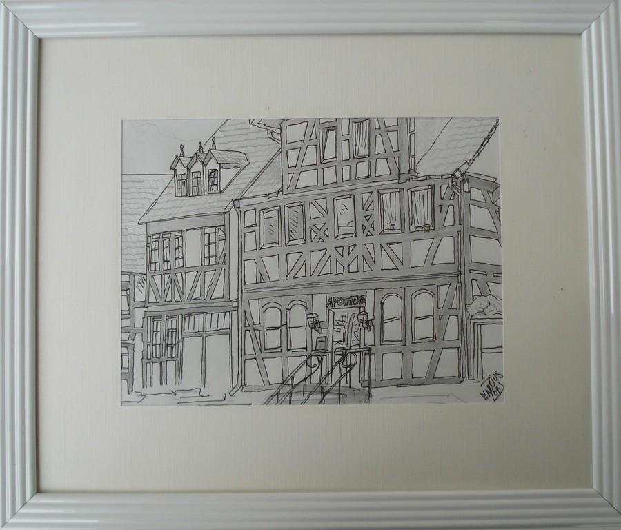 Steinau,alte Apotheke 21 x 29,7 Bleistift auf Papier