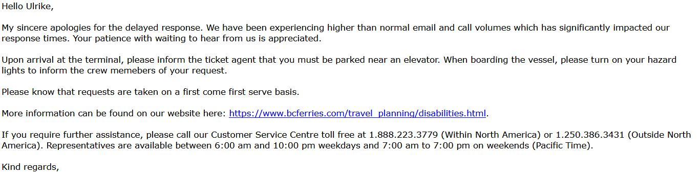 BC Ferries Mail wegen Rollstuhl