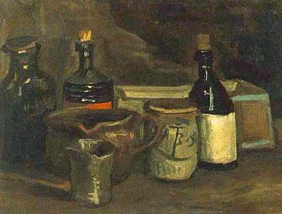 Van Gogh: Stilleven met flessen en aardewerk, 1884