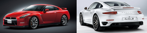 赤い方が日産GT-R ホワイトが911ターボだ。
