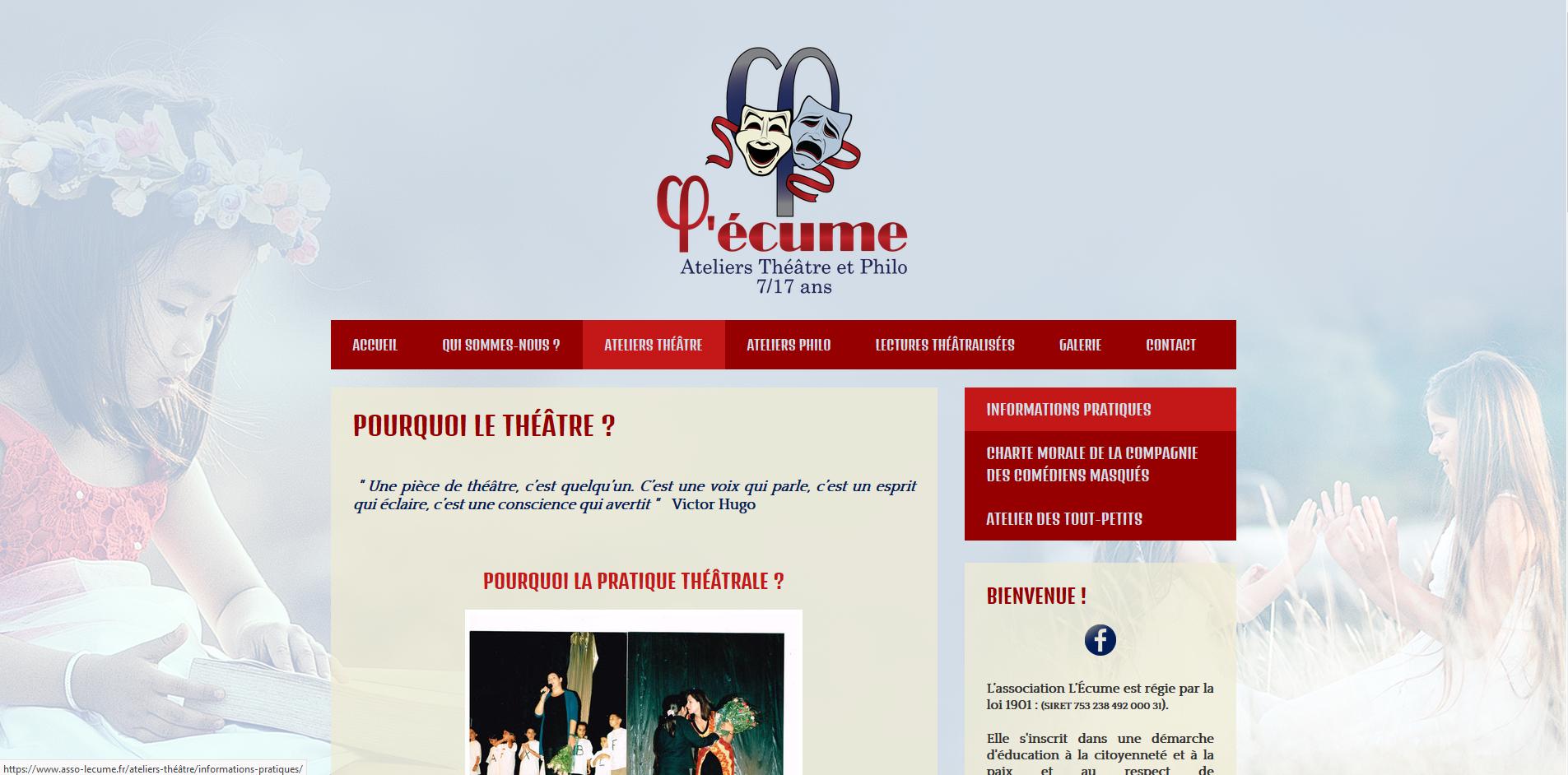 Site web de l'association L'écume - 2018