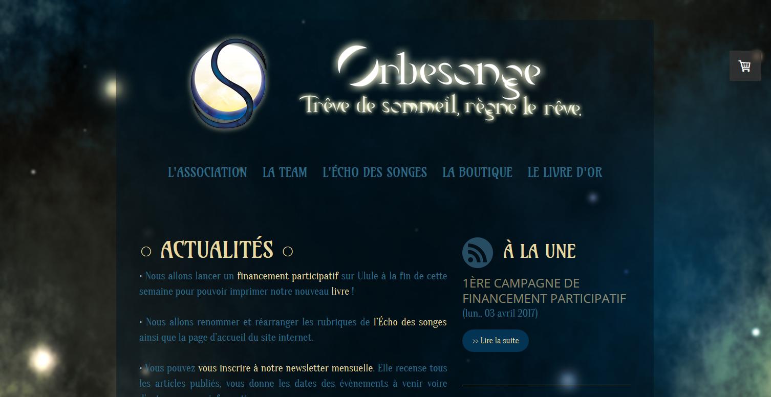 Site web de l'association Orbesonge - 2019