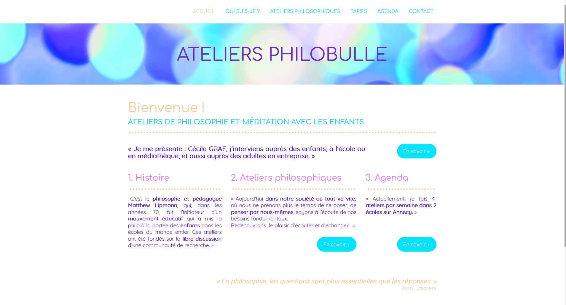 Site web des Ateliers Philobulle - 2020