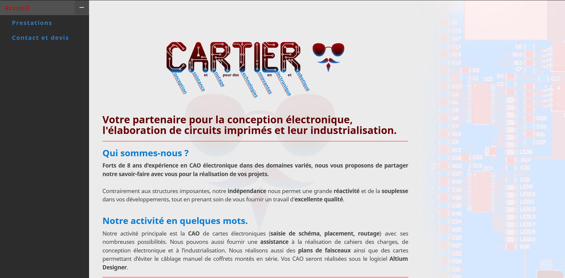 Site web de Cartier Electronique - 2020