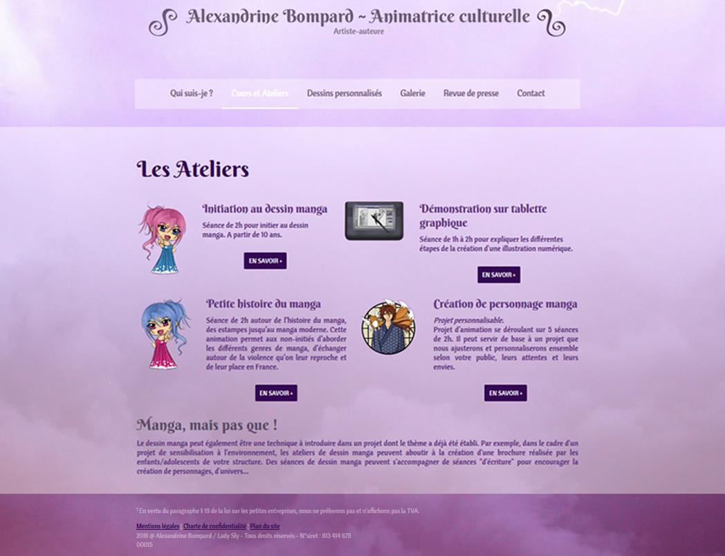 Site web d'Alexandrine Bompard - 2016