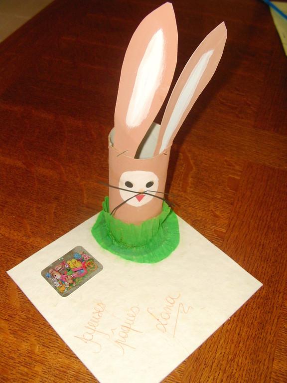 porte crayon de Pâques en tête de lapin