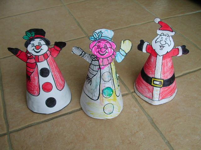 """Père Noël et Bonhomme de neige en papier façon """"chapeau en cone"""""""