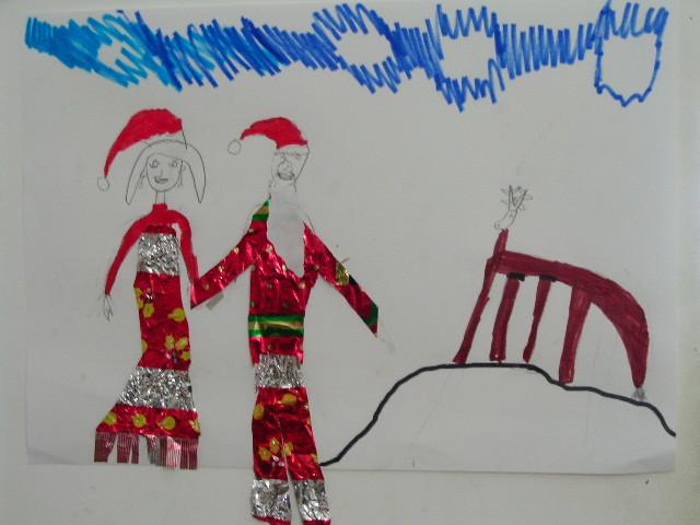 Père Noël et sa femme en habit de papillotte et déco au feutre