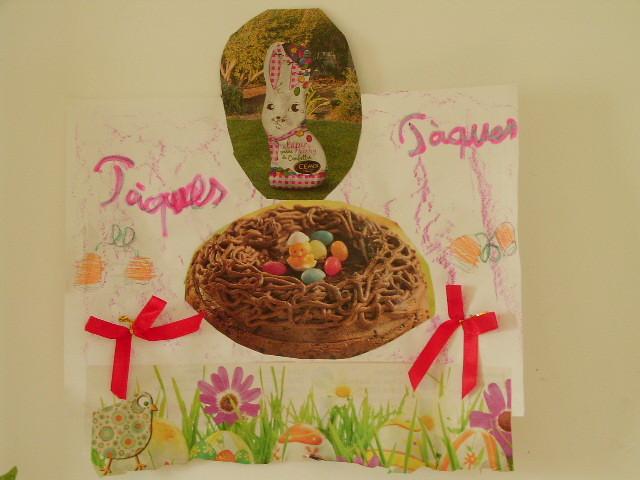 craie grasse en fond, puis collage de d'images de Pâques venant de prospectus (découpé par l'enfant si assez âgé)