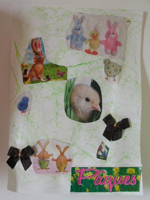 craie grasse en fond, puis collage de d'images de Pâques venant de prospectus