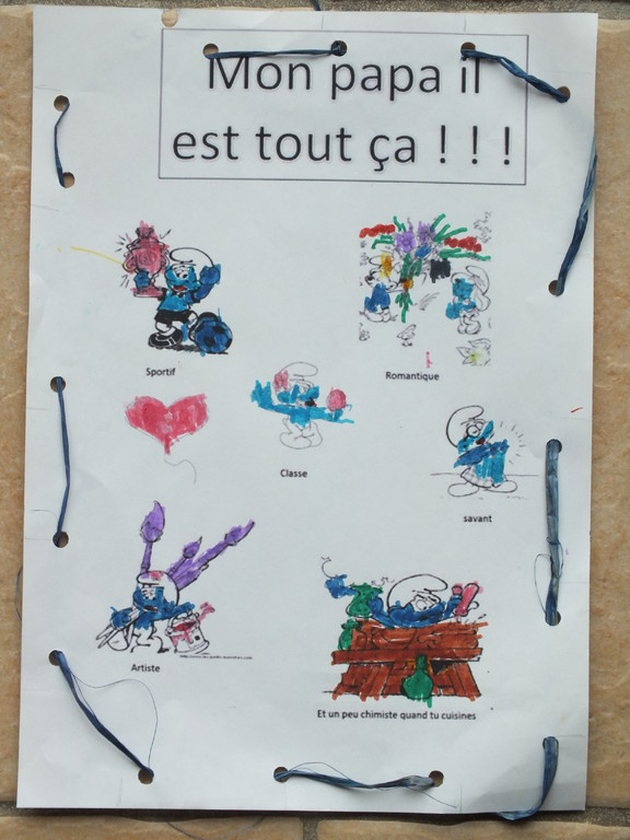 Pour la fête des pères : descriptif de papa en dessin et en mot (modèle Nounoudunord)