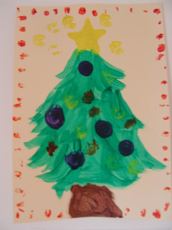 sapin de Noël en peinture avec boules au bouchon