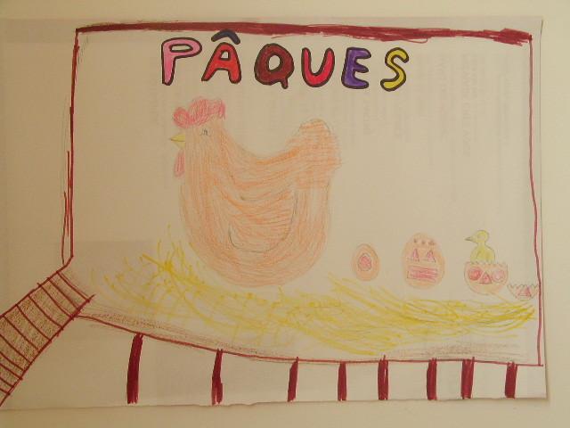 """dessin de Pâques avec modèle de poule à reproduire, """"paysage"""" imaginé par l'enfant"""