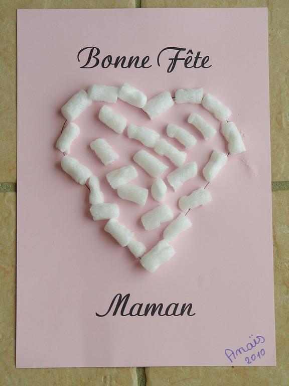"""Pour la Fête des Mères : cadre coeur en """"Playmaïs"""", avec instructions de position (sur trait, puis dedans)"""