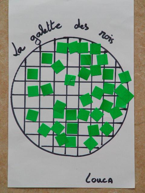 galette des rois : mettre une gommette verte carrée dans un carré