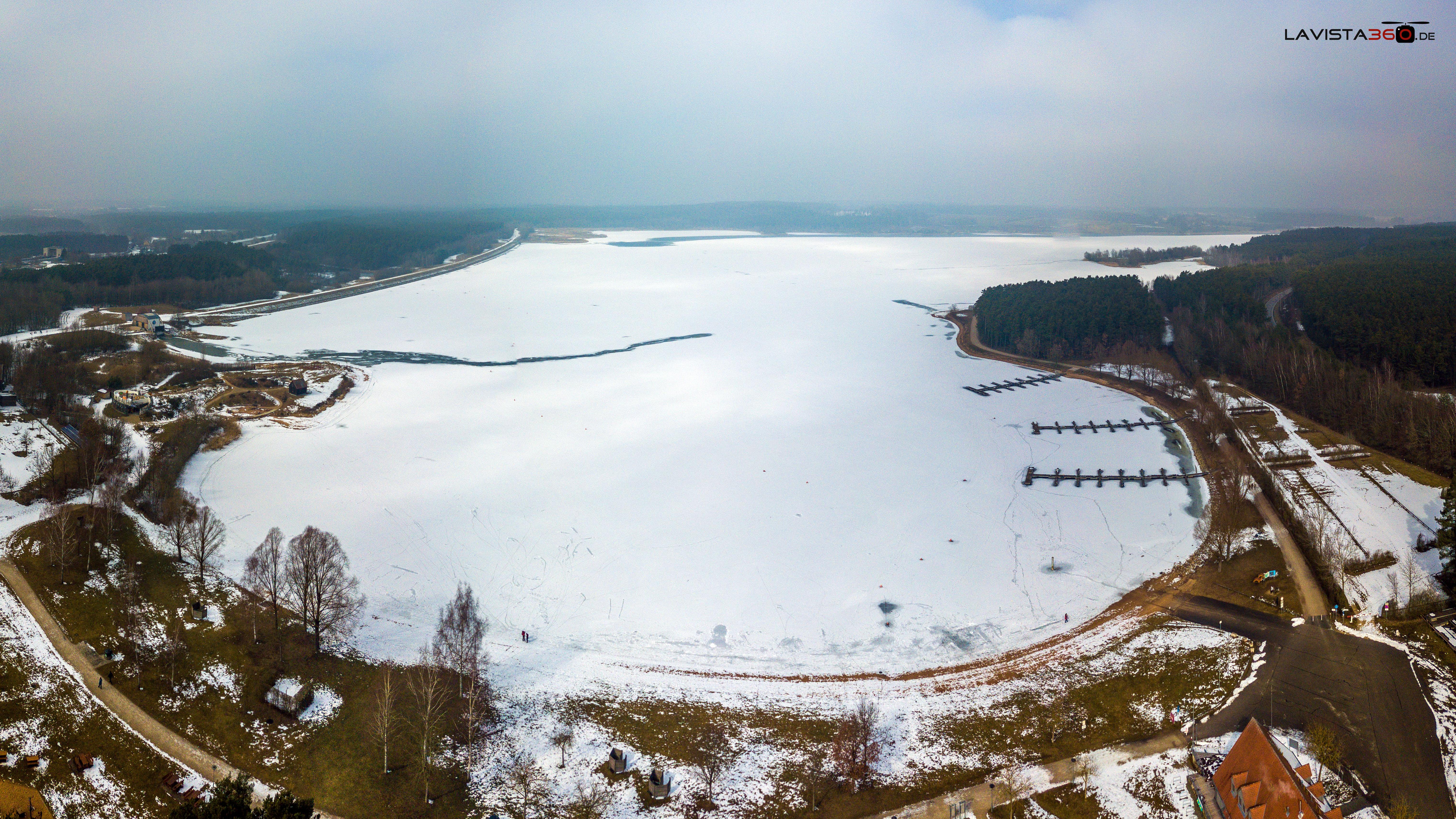 Panoarama Lufaufnahme Luftbild Rothsee im Winter