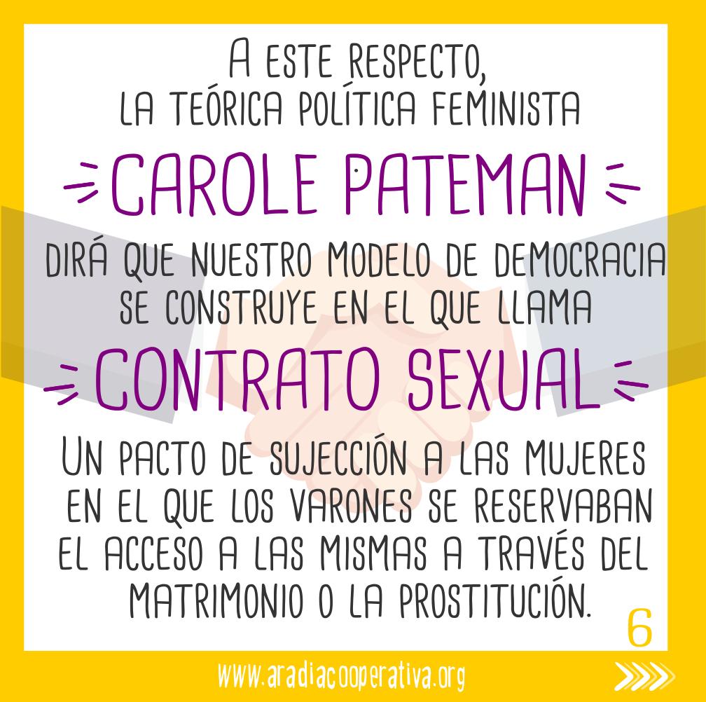 Algo que denuncia Carole Pateman en su Contrato sexual.
