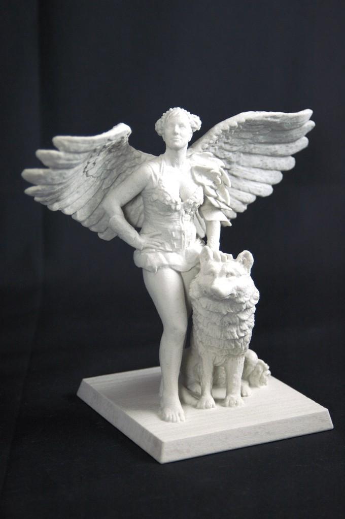 3D Art Engelkrieger mit Wolf