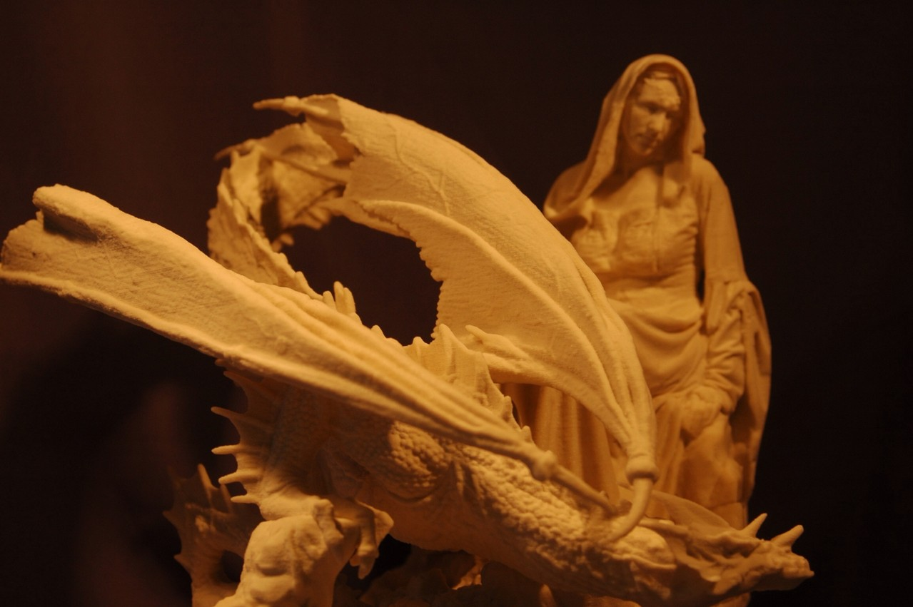 3D Art Burgdame mit Drachen