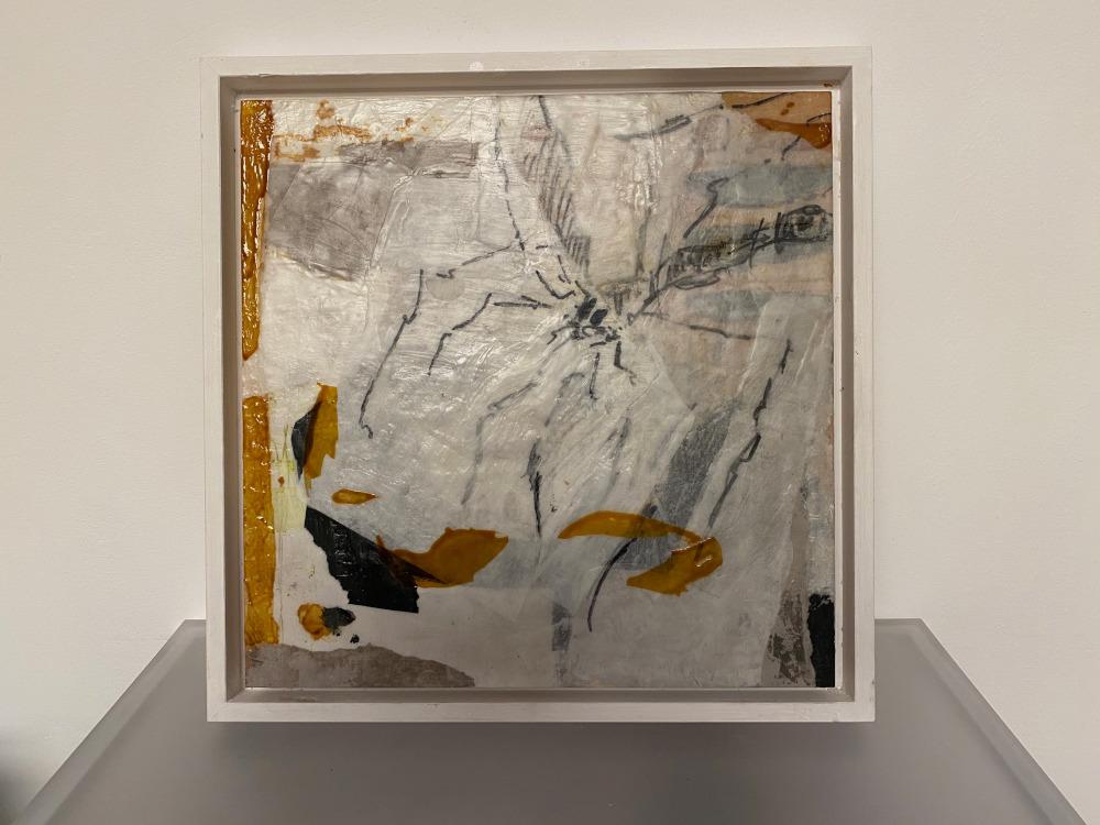 Objekt, Collage auf Holz, Wachsfinish, 30x30 cm, gerahmt