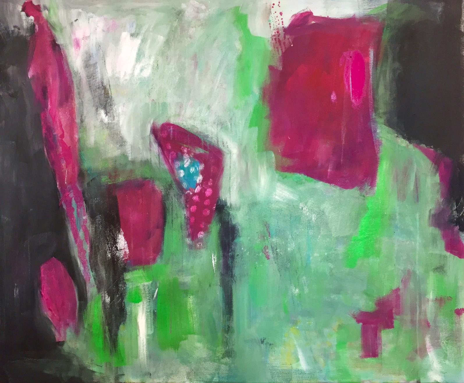 Blumen im Wind, Acryl auf Leinwand, 120x100cm