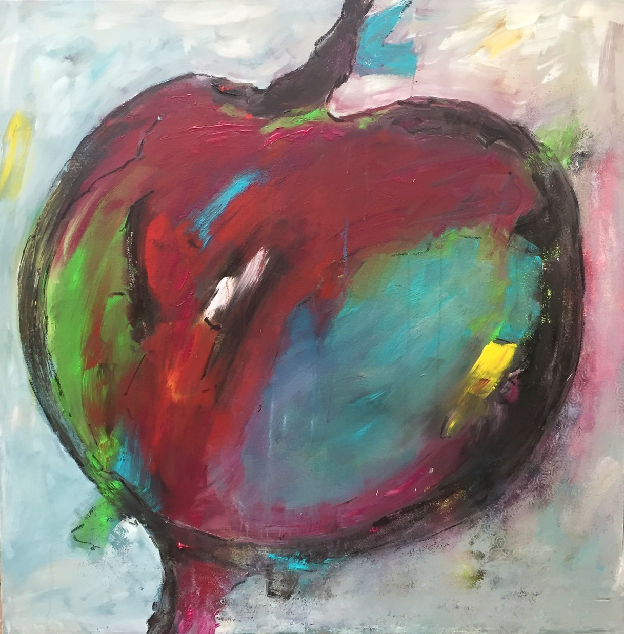 Apfel, Acryl auf Leinwand, 100x100cm