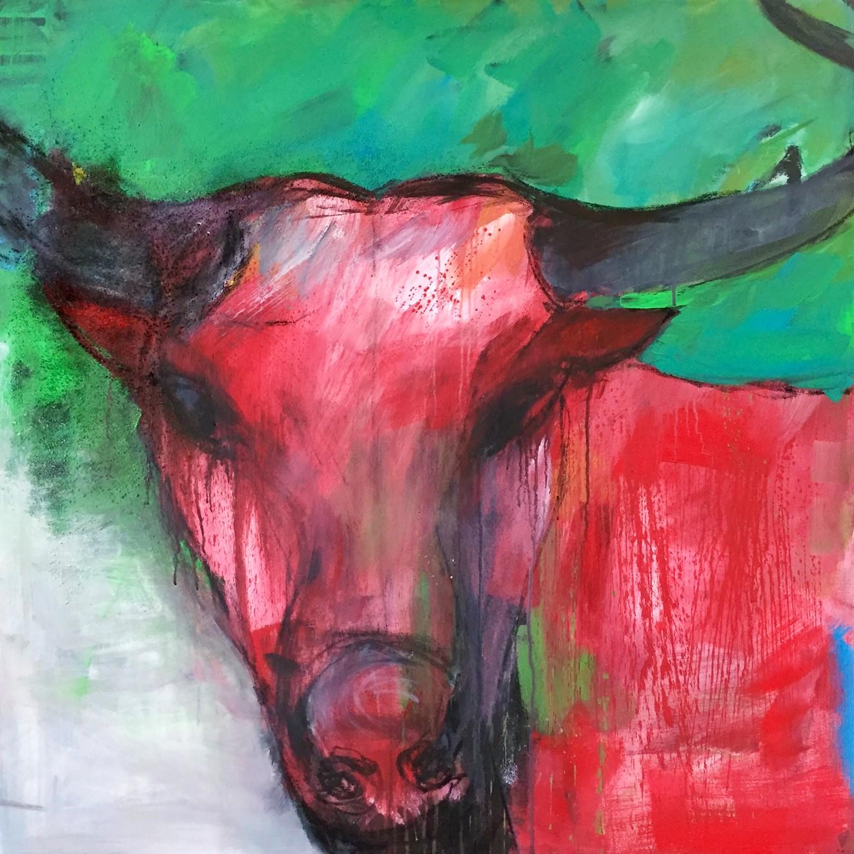 Stier, Acryl auf Leinwand, 100x100cm