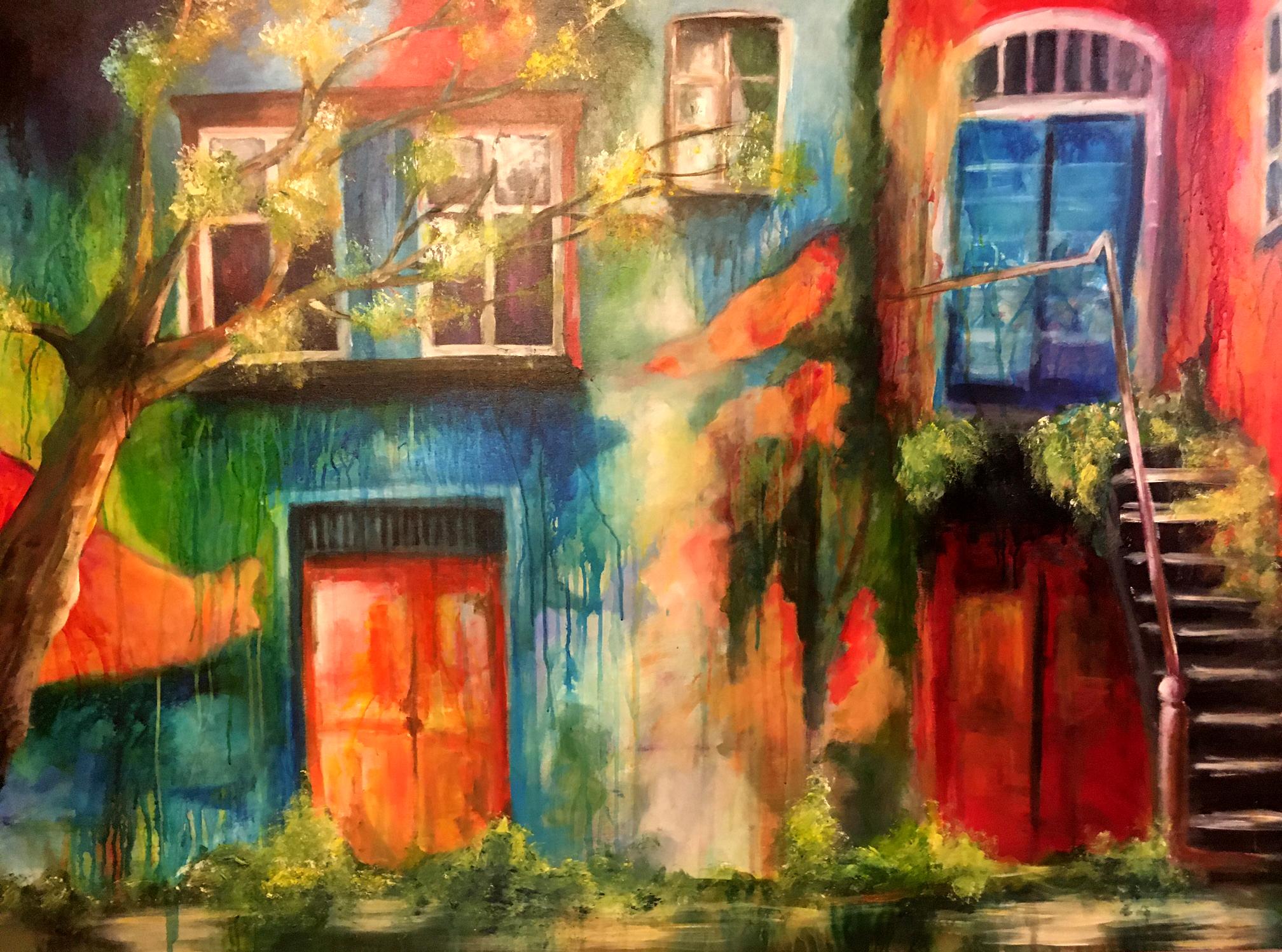 maison de campagne, Acryl, 150x105 cm