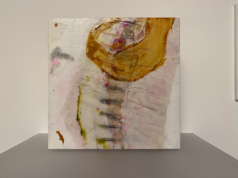 Objekt, Collage auf Holz, Wachsfinish, 30x30x6 cm