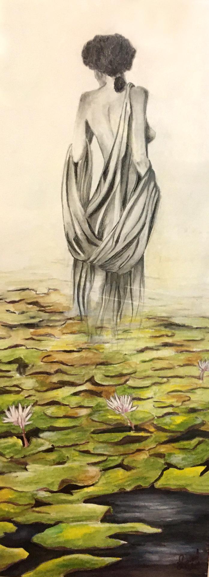 L´étang, Aquarell, 20x 54cm