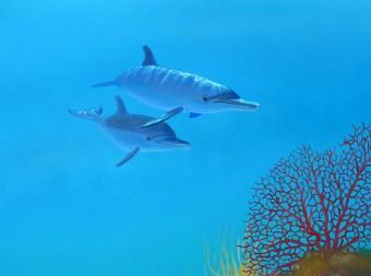 Die Wandmalerei in einer Zahnarztpraxis zeigt Delfine mit einem lebendigen Licht- u. Schattenspiel