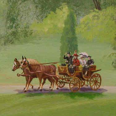 Detail des Englischen Gartens mit ankommender Kutsche.