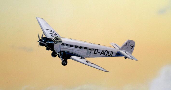 Flugzeug, Detai des Wandbilds Luftfahrt.