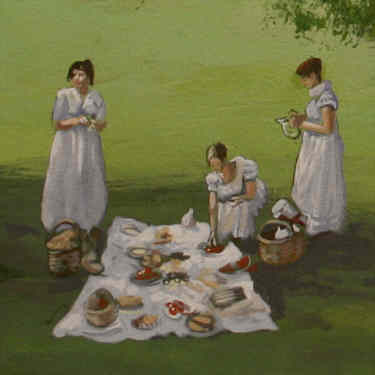 Detail des Englischen Gartens mit Damen beim sommerlichen Picknick im Schatten einer alten Eiche.