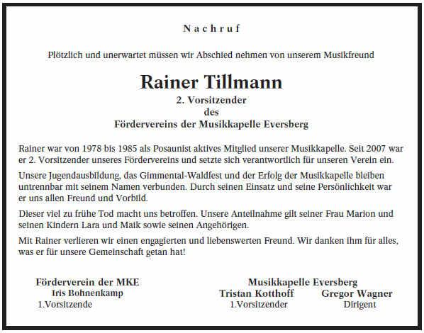 Nachruf Rainer Tillmann (+ 12.09.2015)
