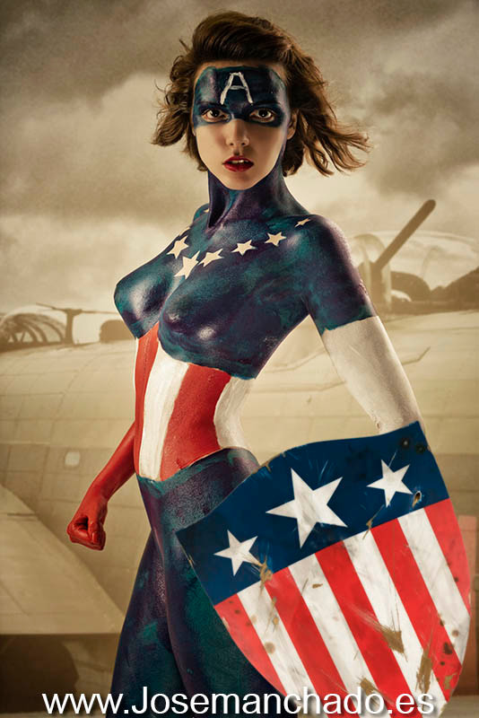 bodypaint marvel, bodypaint captain america, bodypaint capitan america, bodypaint advengers, bodypaint geek