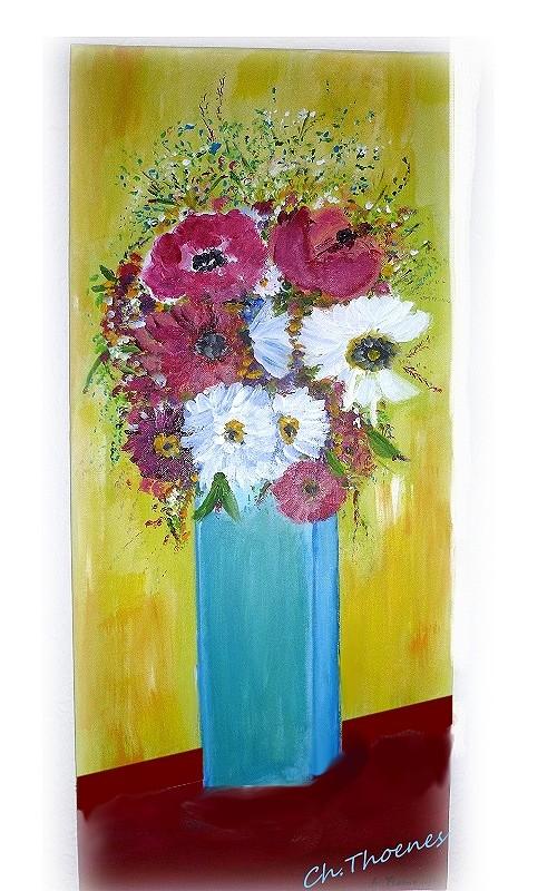 Blaue Vase,  Acryl auf Leinwand, Christel, Thoenes