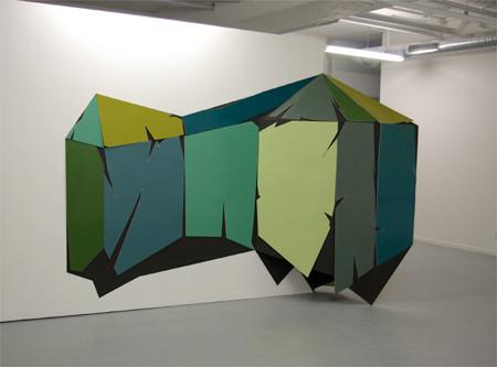 """Dalston Social Club 2010 220 cm x 340 cm x 65 cm Sperrholz, Tischlerplatte, Kunstharzlack, Dispersion"