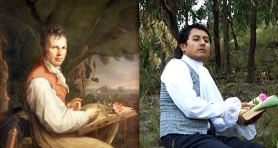"""""""Alexander Von Humboldt"""" por Friedrich Weitsch, 1816 / """"Humboldt_2.0"""" still de video por Mayra Estévez, 2012"""