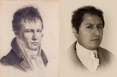 """Autoretrato"" Alexander Von Humboldt, 1815 / ""Retrato Humboldt_2.0"" por Gonzalo Vargas E, 2012."