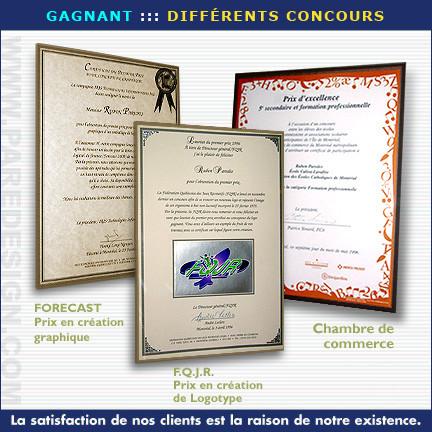 Quelques certificats comme gagnant de concours (création graphique)