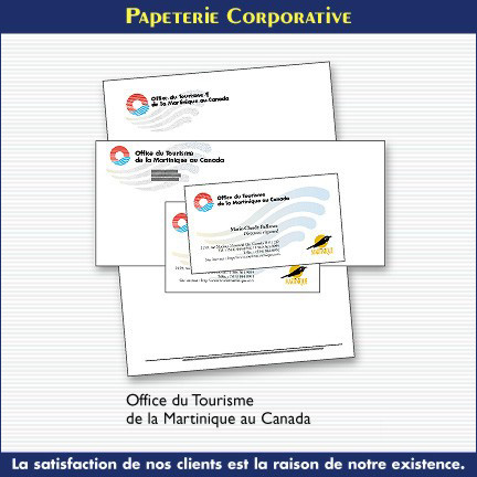 Papeterie corporative - Office du Tourisme de la Martinique au Canada